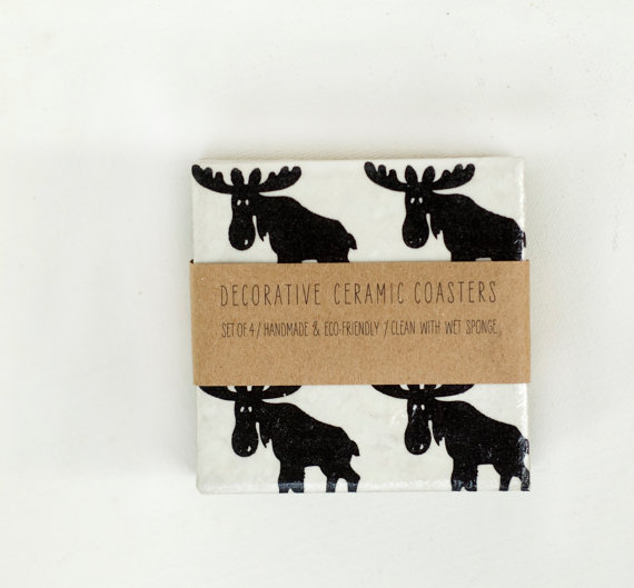 Christmas Coasters Scandinavian Moose Black and White