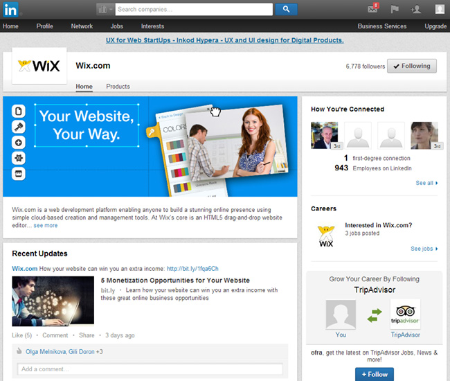 Wix on LinkedIn