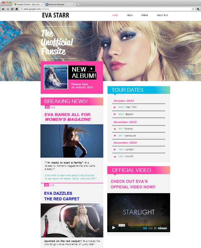 26 beautiful website templates for small businesses popstar fansite accmission Images