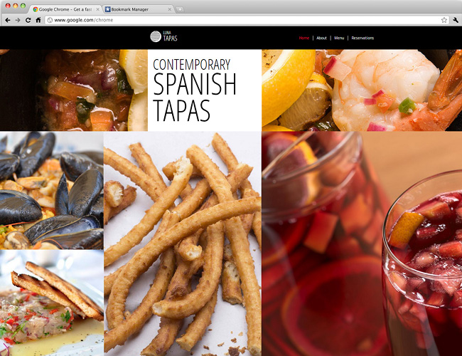 26 beautiful website templates for small businesses for Tapas menu template