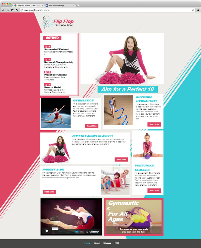 26 beautiful website templates for small businesses gymnastics school accmission Images