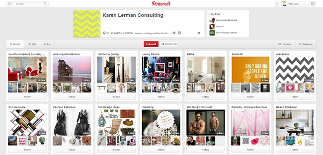 Check out Karen Lerman's Pinterest Boards
