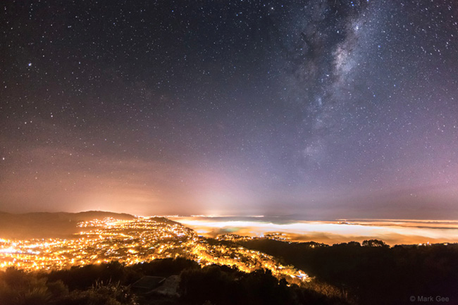 Milky Way Over the Light of Wellington, New Zealand by Mark Gee