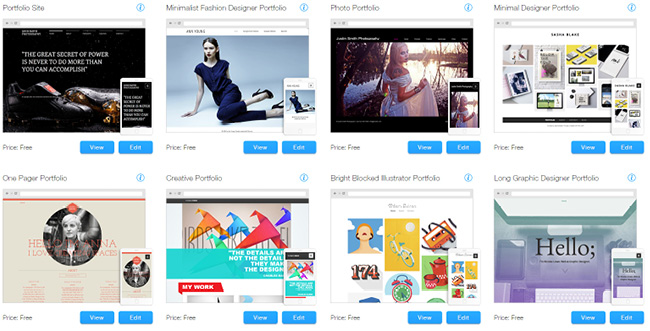 Wix Templates for a beautiful online portfolio
