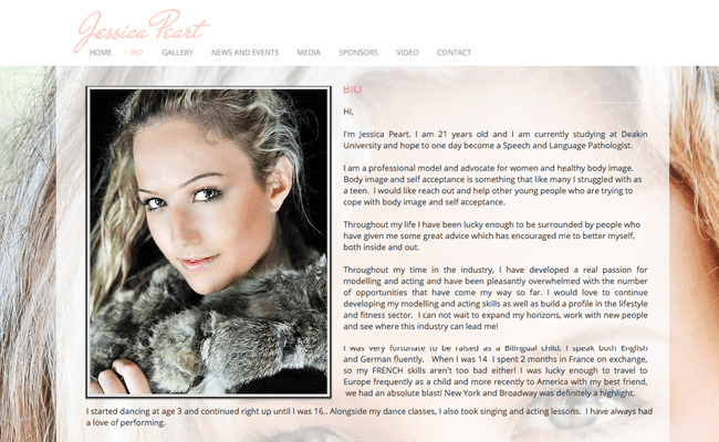 9 excellent examples of how to design a modeling portfolio for Photography bio template