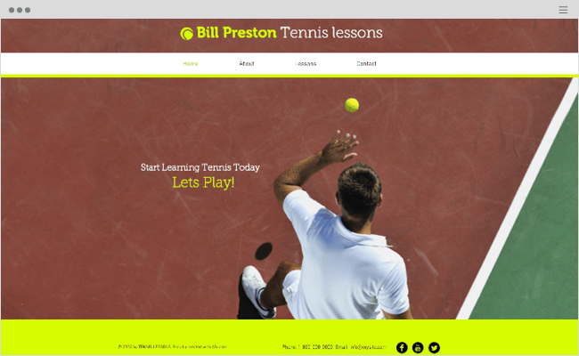 Tennis Instructor Website