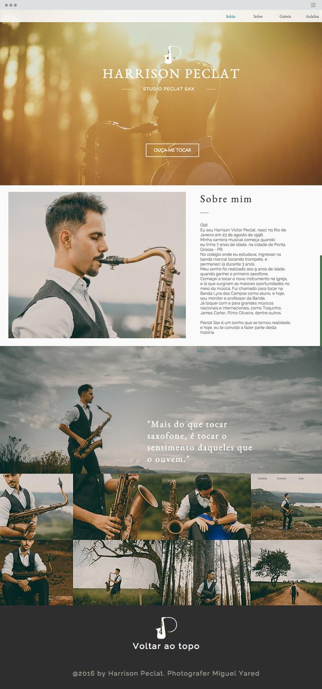 Wix Website using wedding photography template - www.peclatsax.com