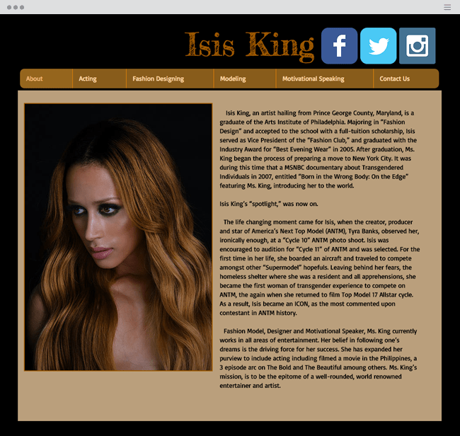 Isis King Official Wix Website