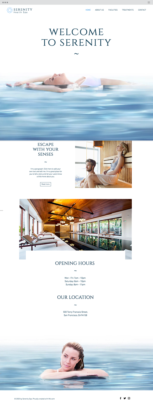 The Spa Website Template WIX
