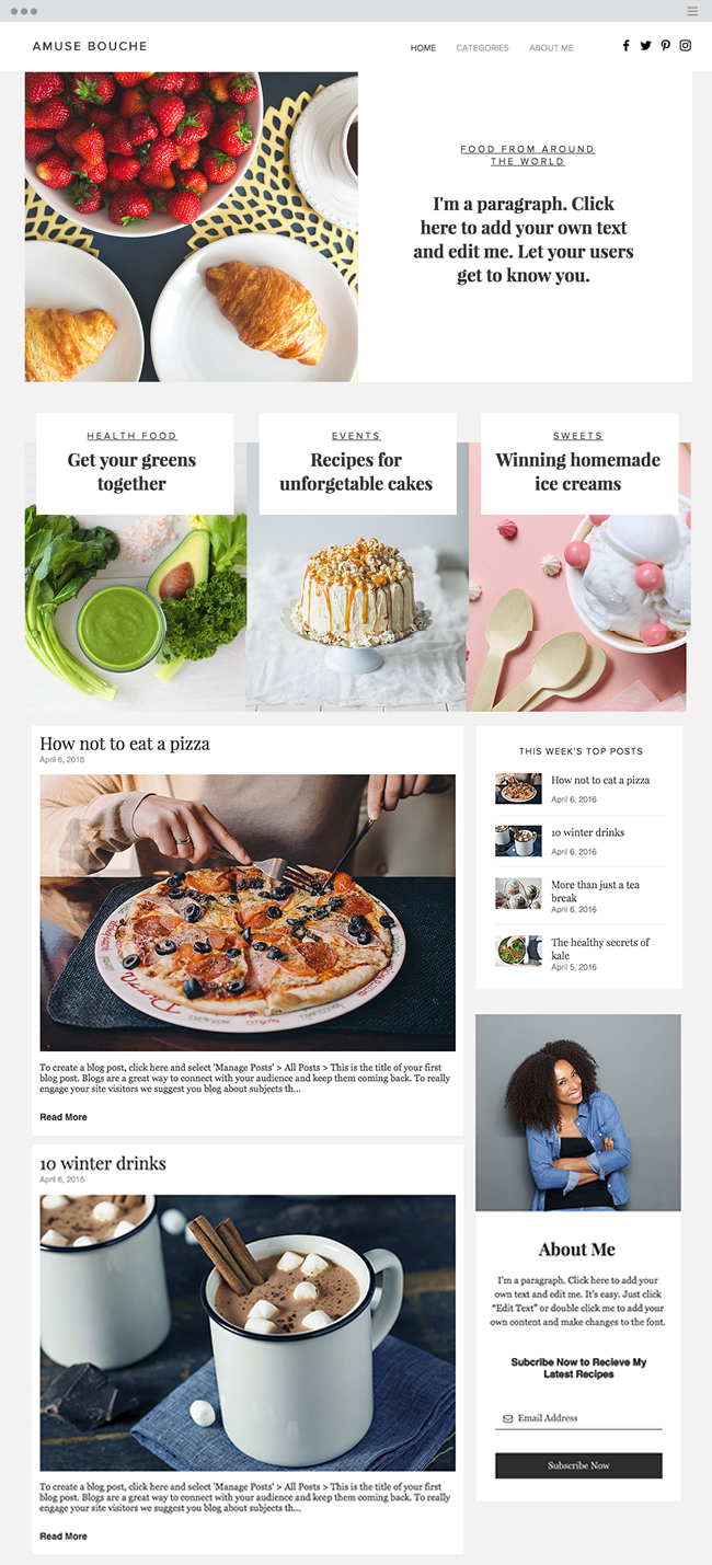 Culinary Blog Website Template WIx