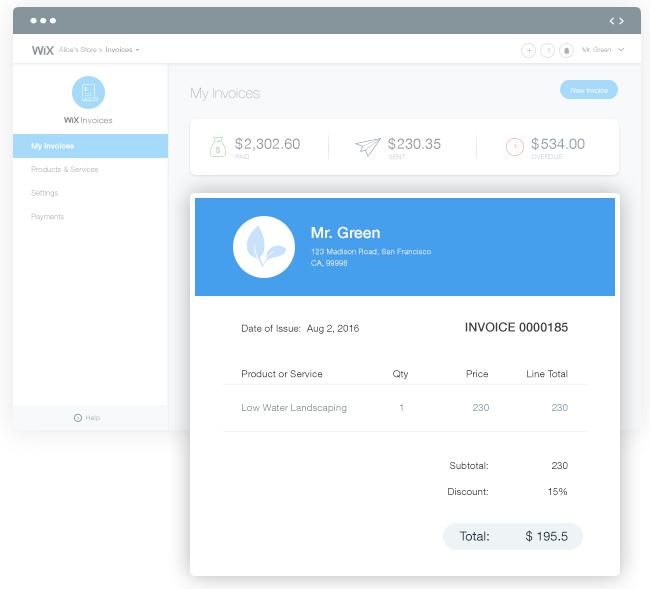 Wix Invoices