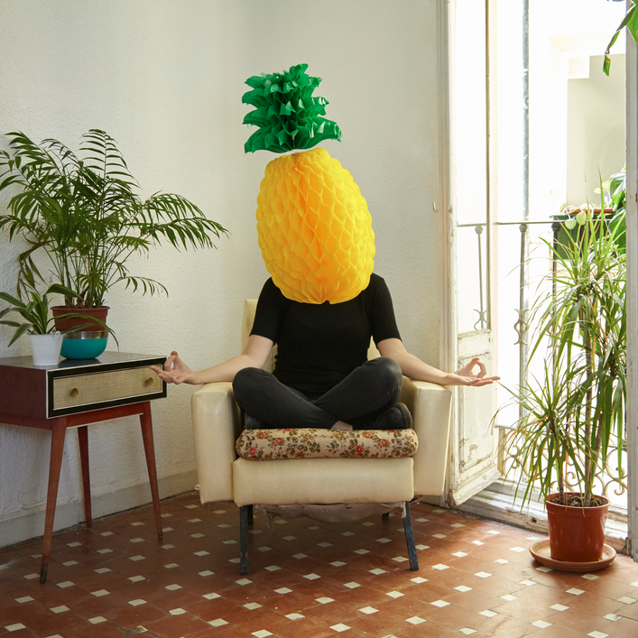 Weird stock photo : Yoga Pineapple