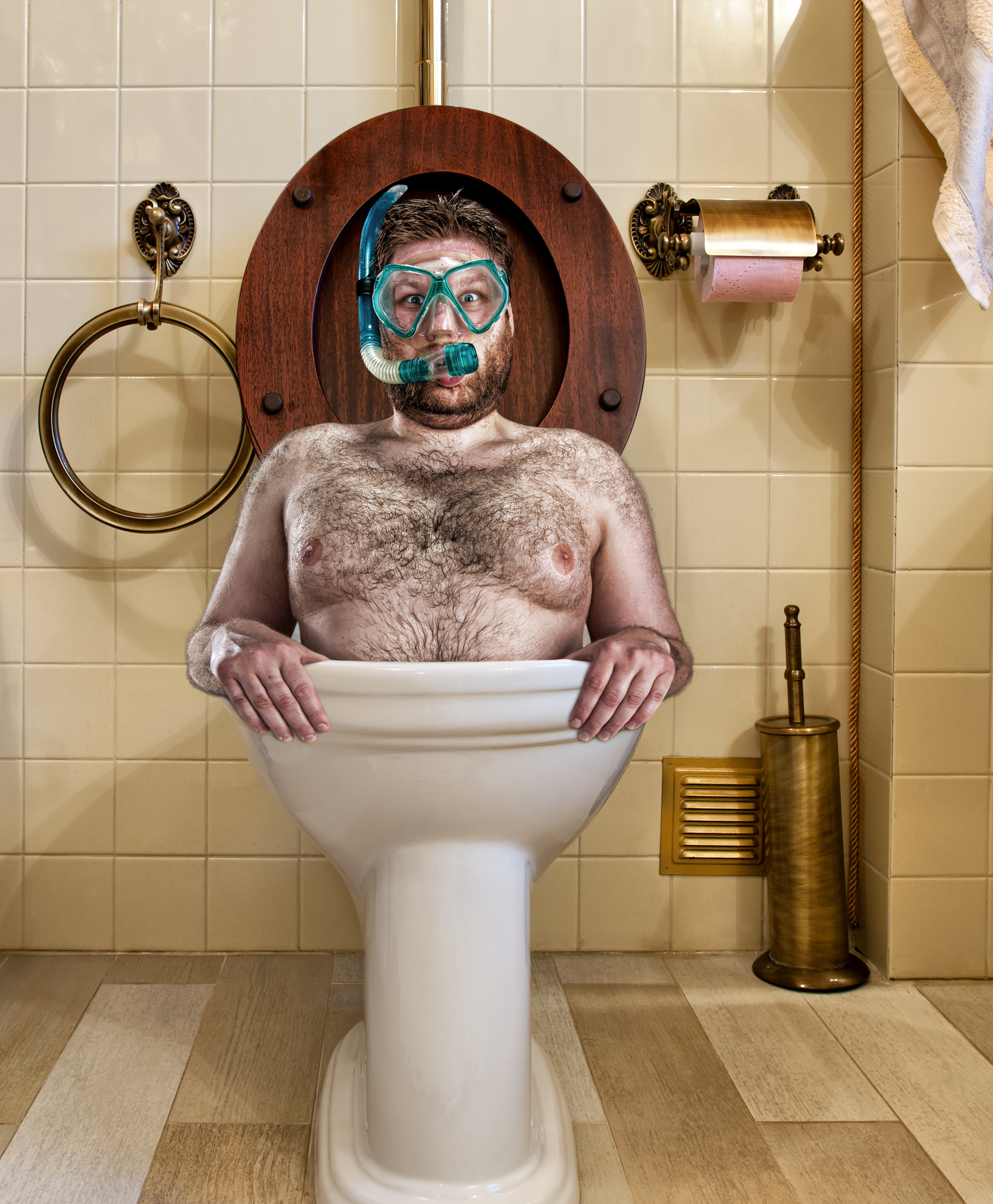 Bad stock picture: guy diving in toilets