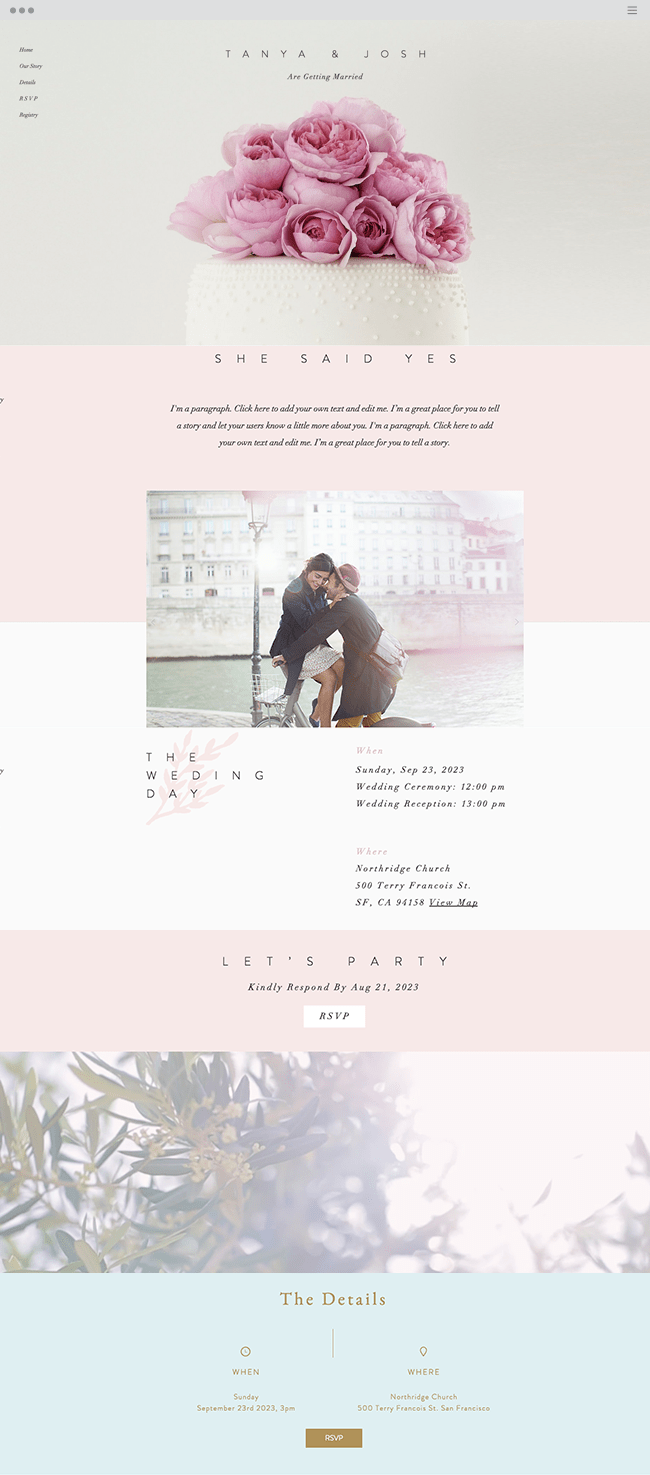 Classic Wedding Invite Website Template