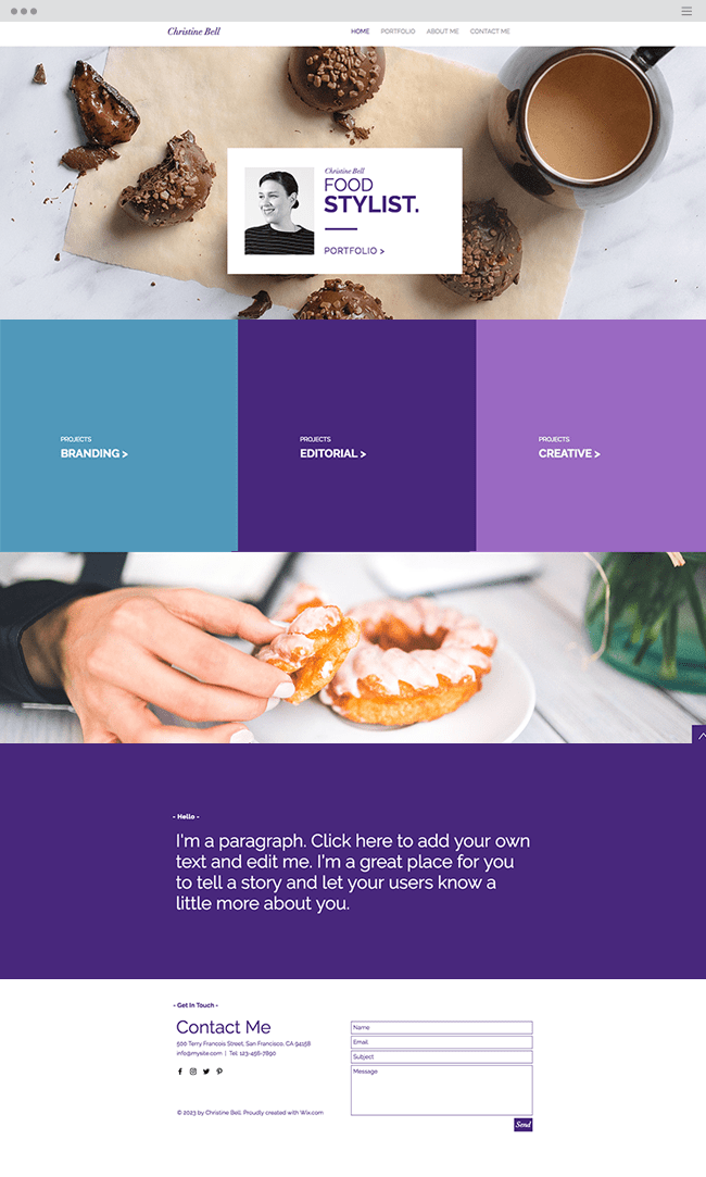 food stylist website template