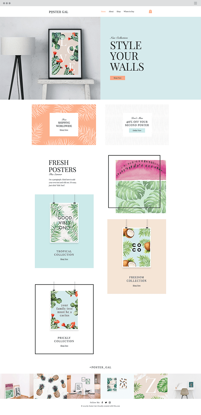 poster shop website template