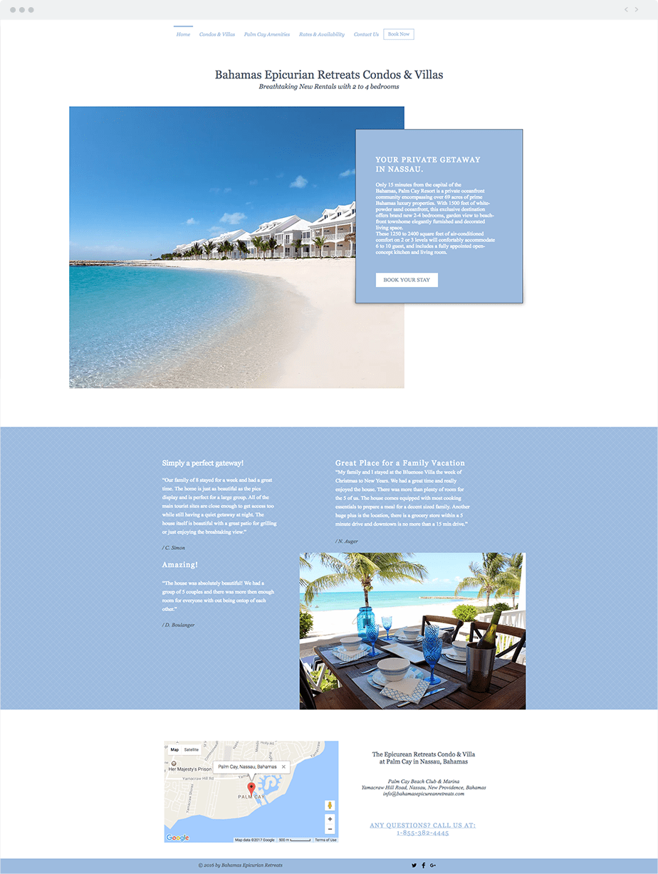 Wix Site: Epicurean Retreats Condo & Villa