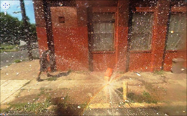 Weird Google Street View: Fire Hydrant Burst