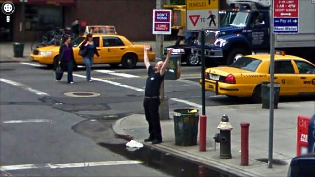 Weird Google Street View: Happy Policeman