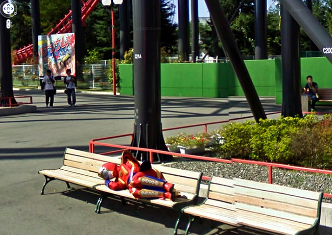 Weird Google Street View: Tired Power Ranger