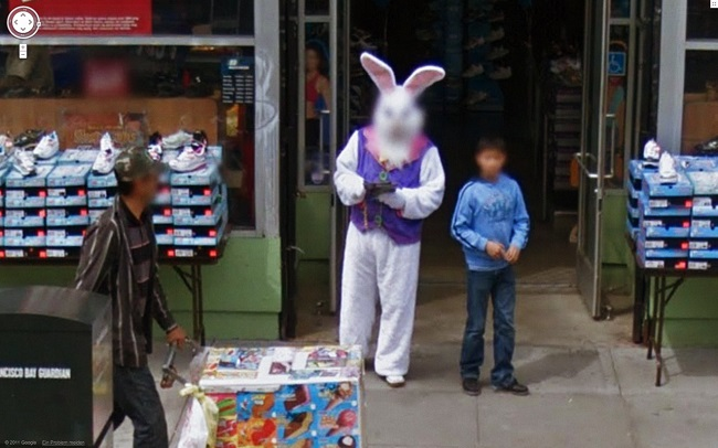 Weird Google Street View: Scary Easter Bunny