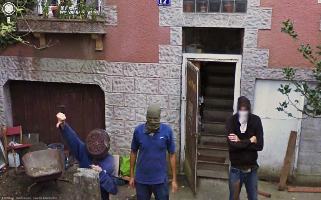 Weird Google Street View: Angry Gang