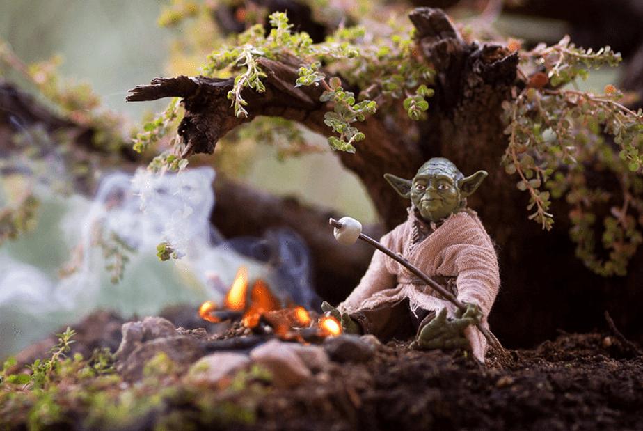 Yoda Roasting a Marshmallow