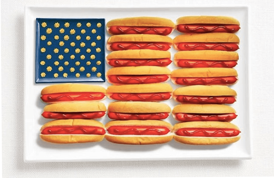 American Flag Hot Dogs