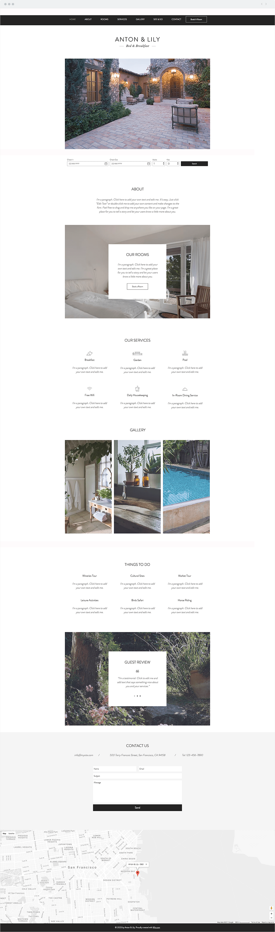 Wix Template - Bed and Breakfast
