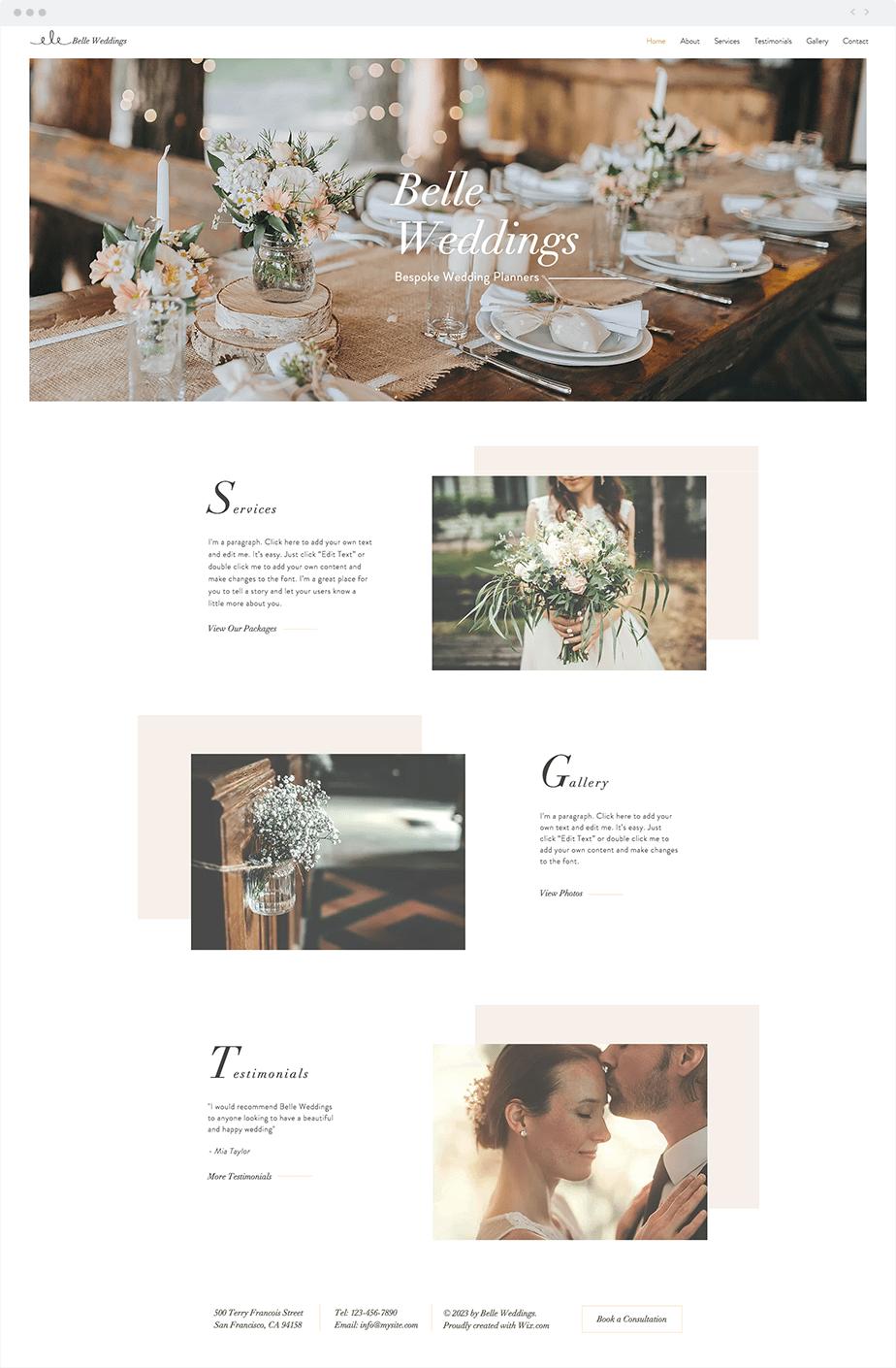Wix Template - Wedding Planner