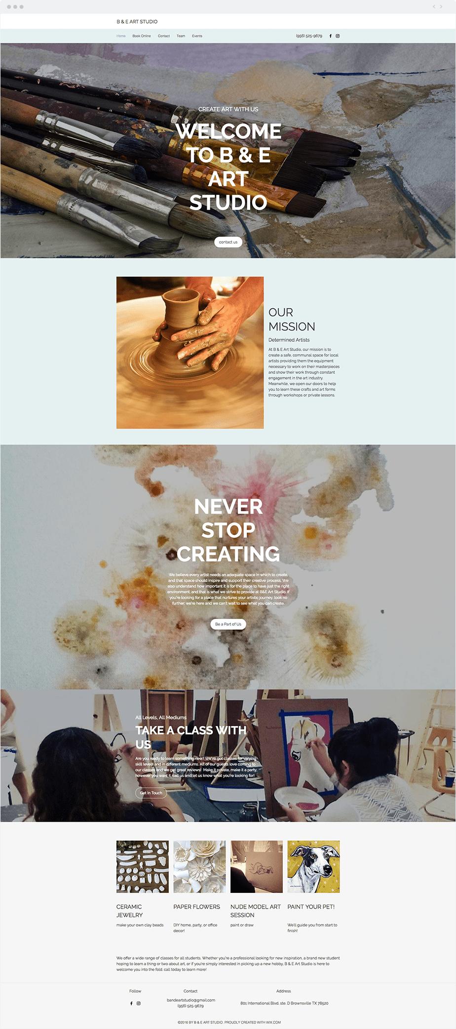 Wix Bookings Website: B & E Art Studio