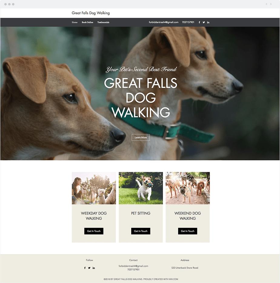 Wix Bookings Website: Great Falls Dog Walking