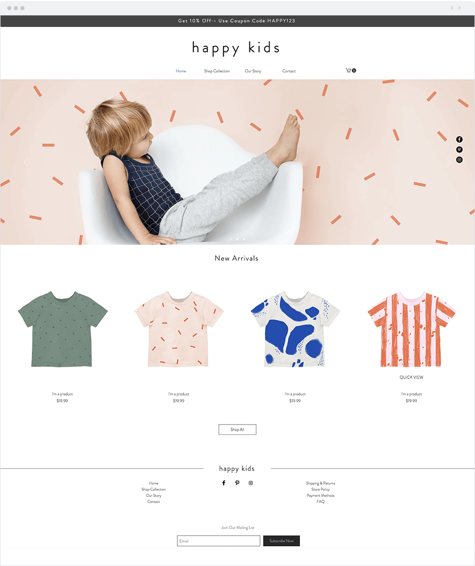 Wix Stores Template - Kids Apparel