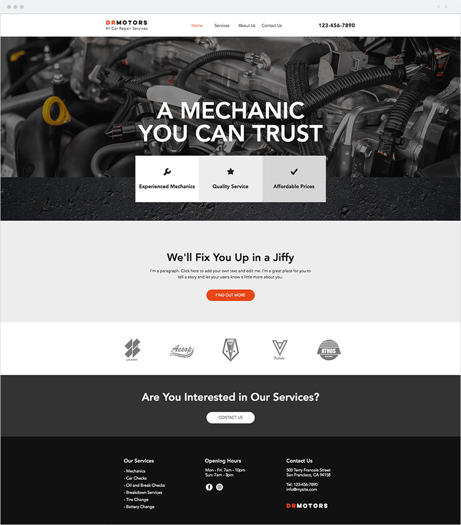 Wix Website Templates: Car Repair