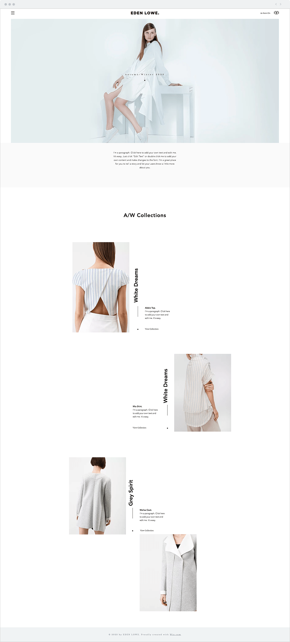 Wix Website Templates: Fashion Designer