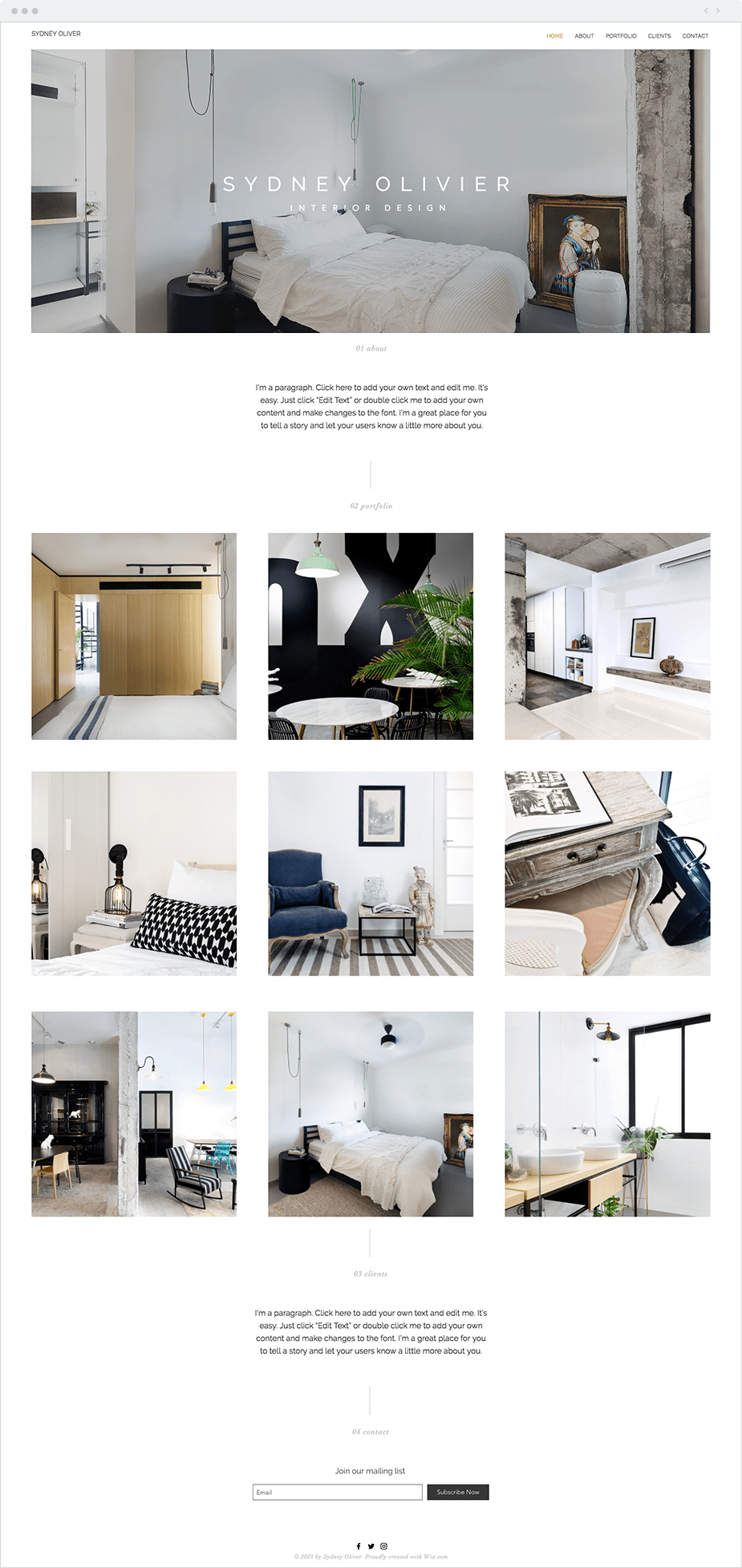 Wix Website Templates: Interior Designer