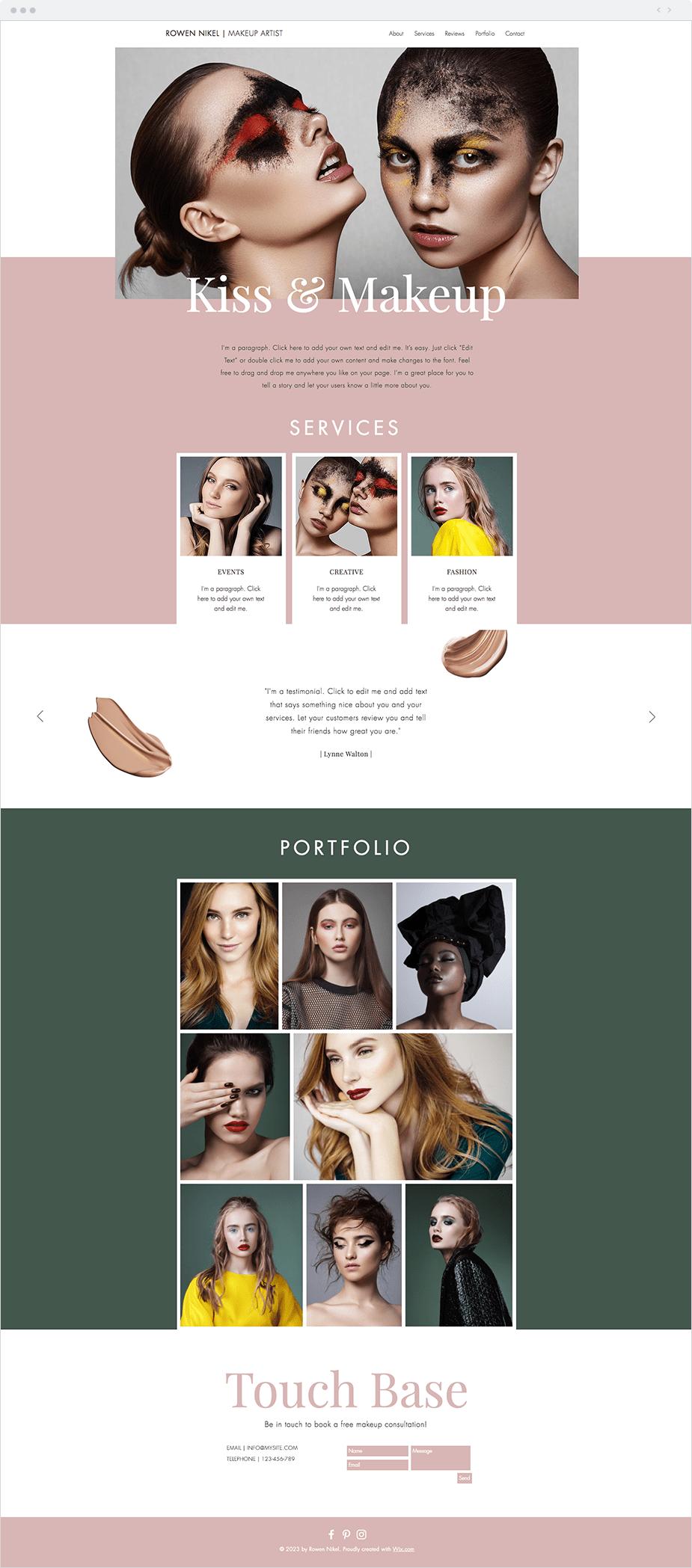 Wix Templates: Makeup Artist