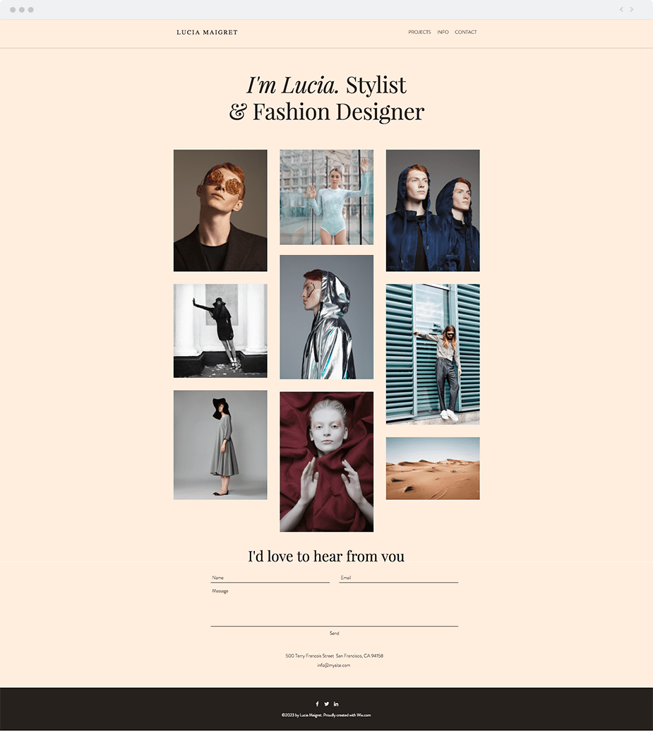 Wix Templates: Wardrobe Stylist