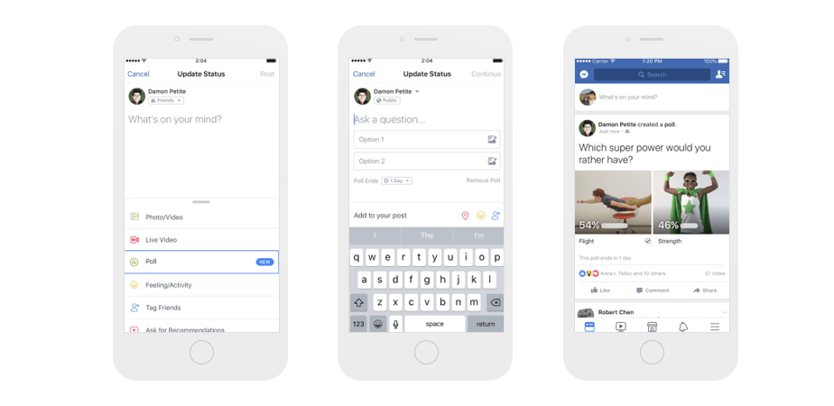 New Facebook feature: create polls