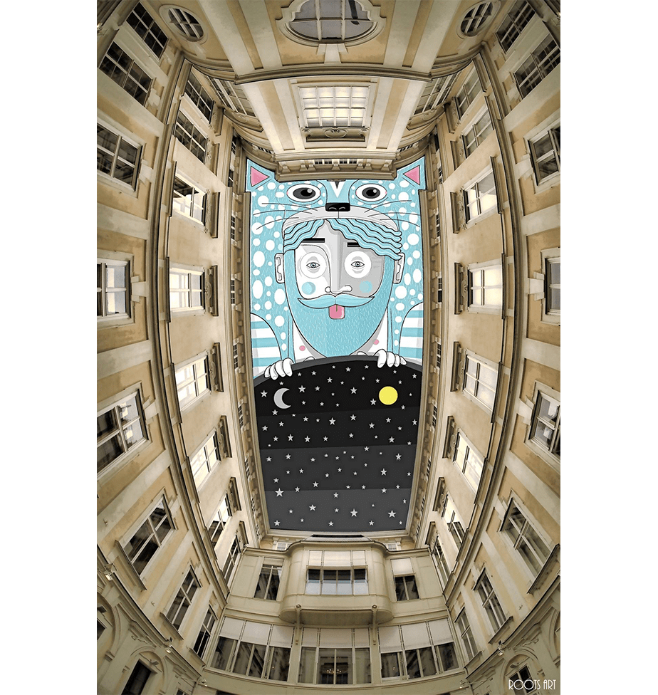 Sky Art by Wix User Thomas Lamadieu using the space between building to create beautiful art
