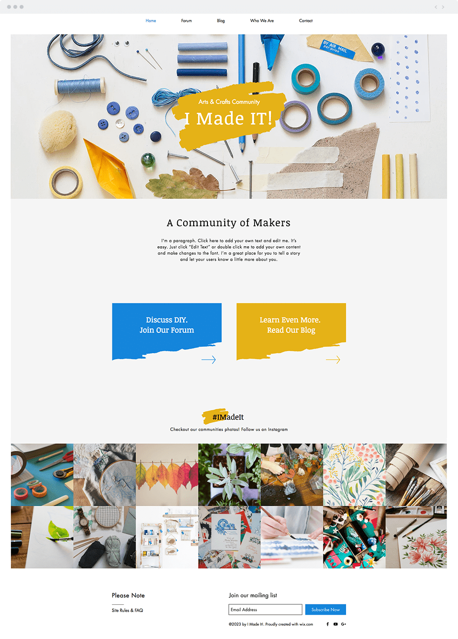 Wix templates: Arts and crafts forum website