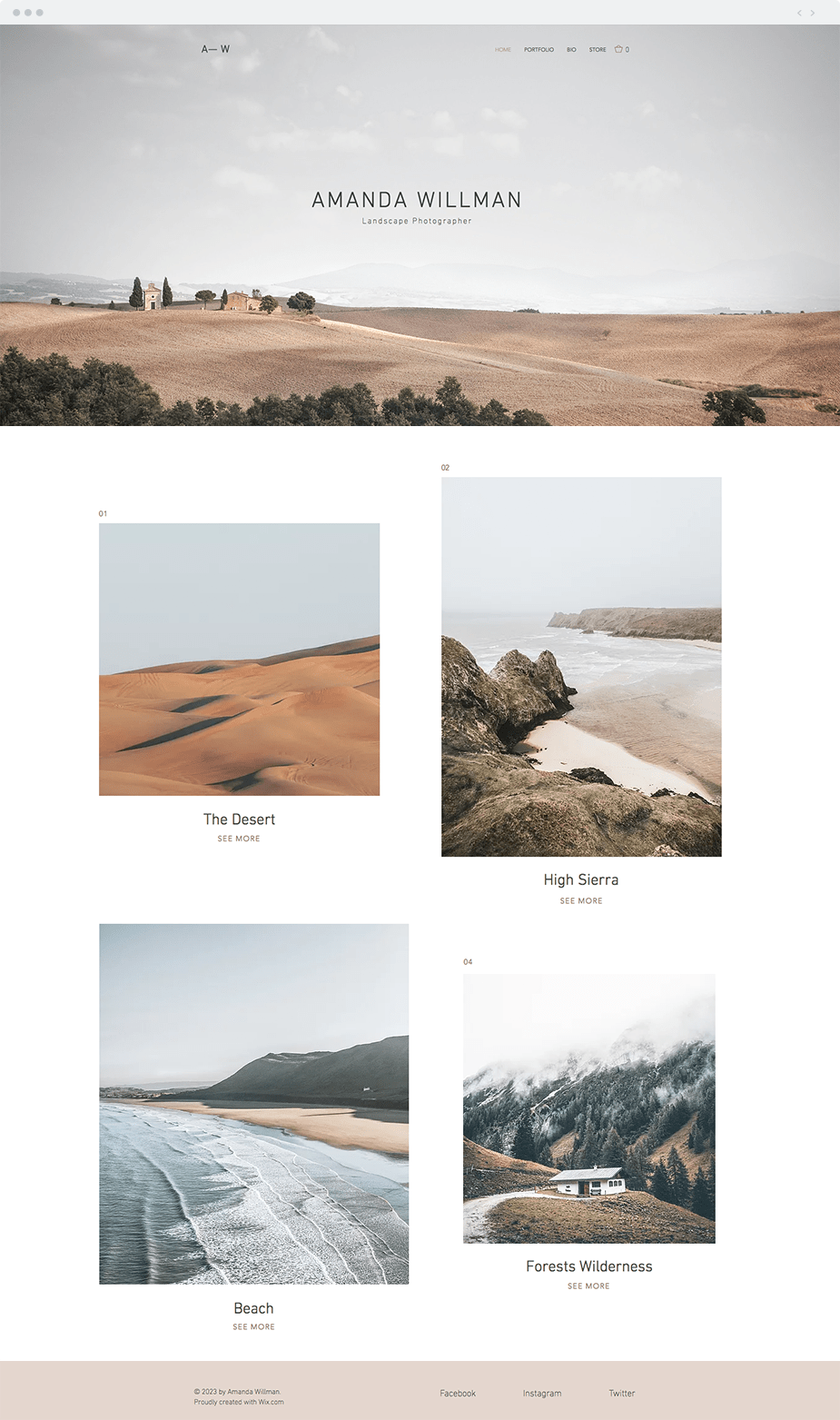 Wix templates: Landscape photographer template