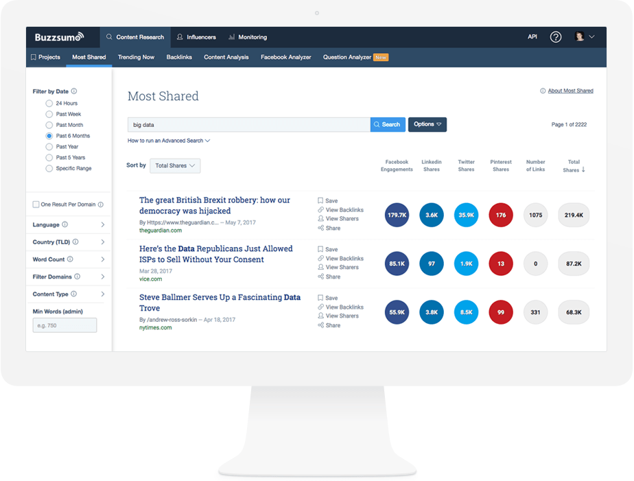 Buzzsumo as a content discovery tool