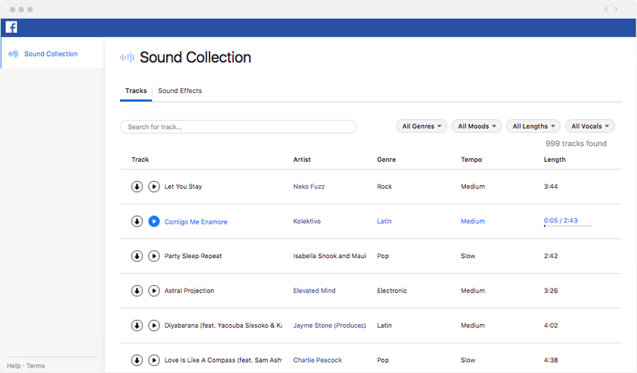 Sound Collection: Facebook updates 2018