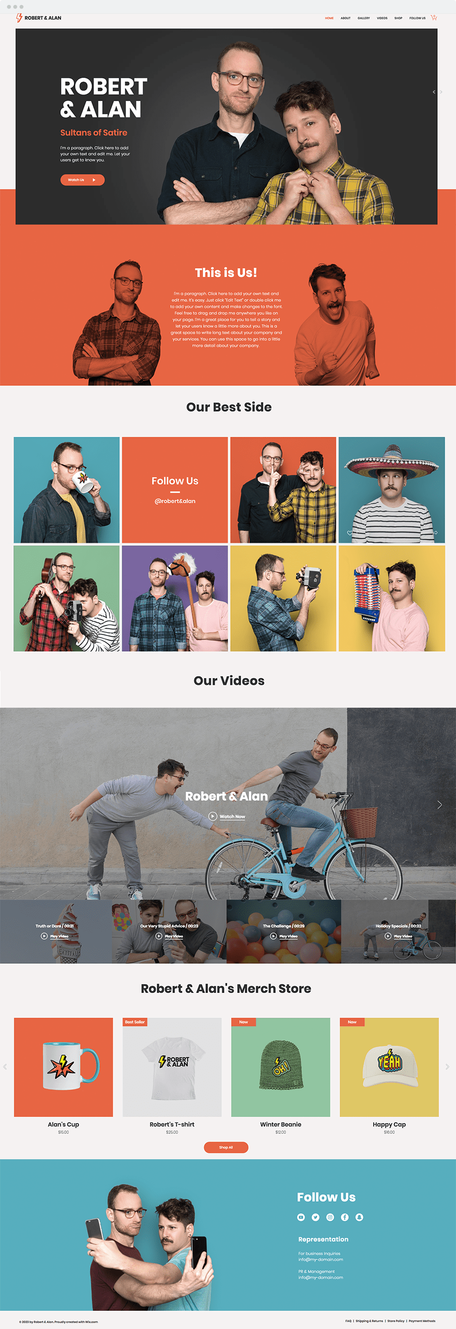 Wix templates: Internet comedians
