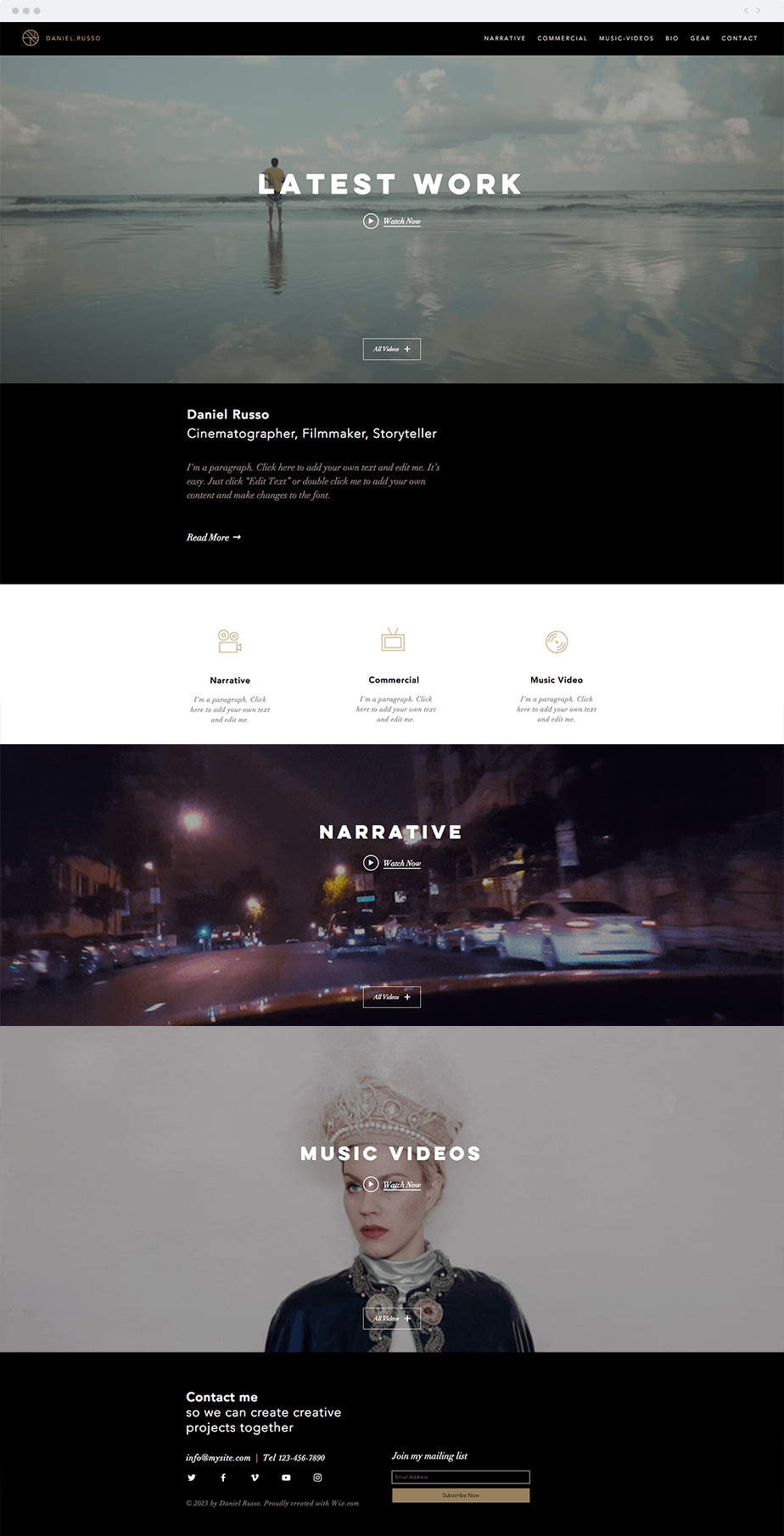 Wix cinematographer template