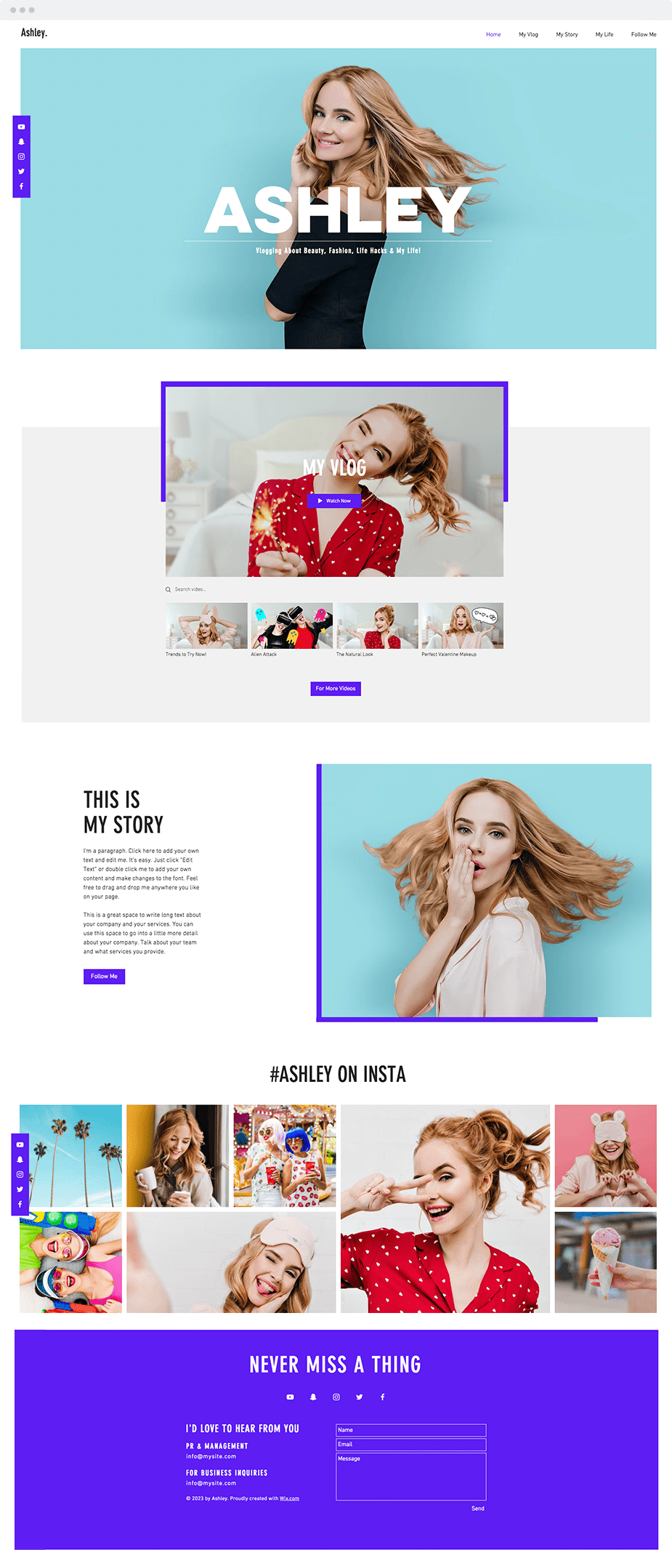 Wix personal vlog template
