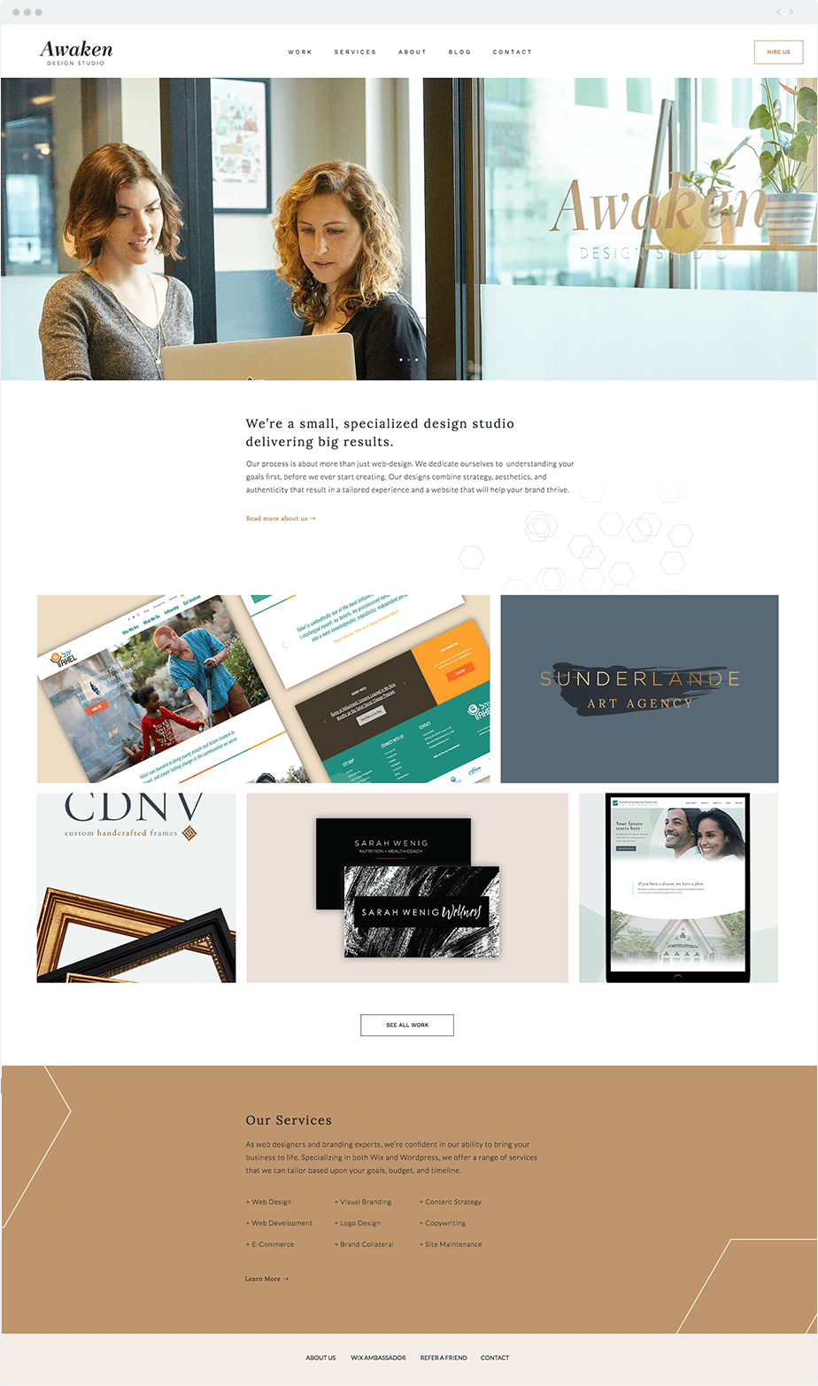 Professionals who use Wix: Awaken design studio