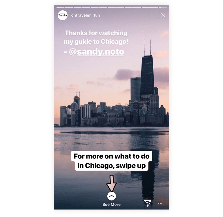 An example a call-to-action using the swipe up feature on Instagram Stories