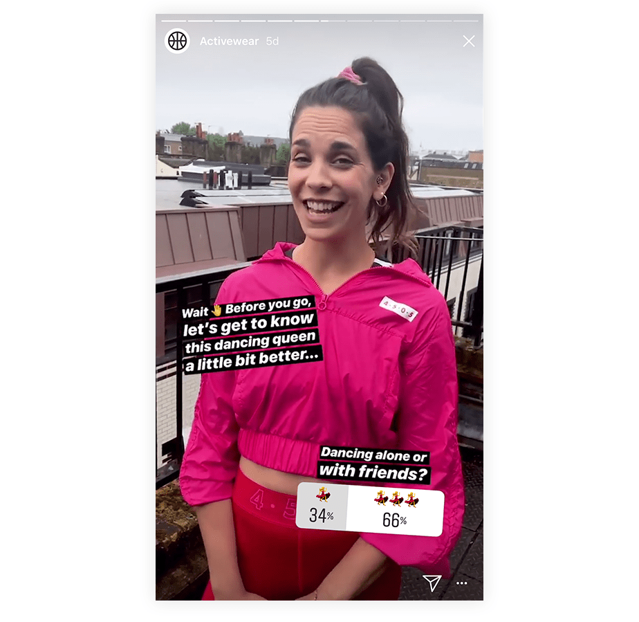 Example of creating a poll on Instagram Stories